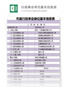 市直行政事业单位基本信息表