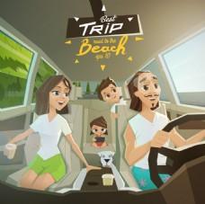 开车自驾游一家人插画