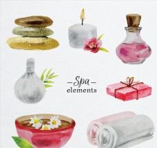 7款水彩绘spa元素矢量素材