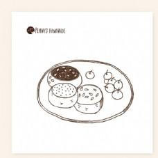 手绘 画 枣子 蛋糕素材 下午
