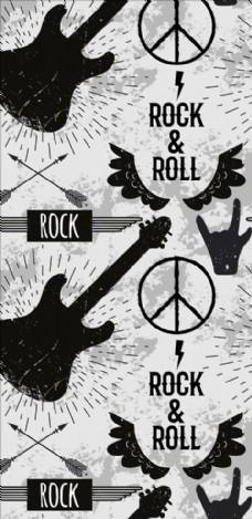 摇滚乐器反战标志四方连续底纹