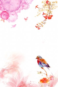 彩色水墨花鸟图背景