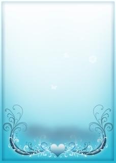 简约蓝色心形背景