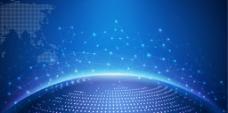 蓝色商务科技地球会议展会海报展板
