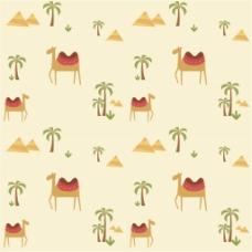 沙漠椰树骆驼无缝背景图