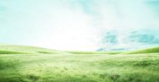 小清新天空草原背景