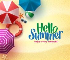 夏天沙滩太阳伞背景