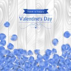 木纹蓝色花瓣背景图