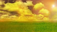 黄昏下云天空和草原下载