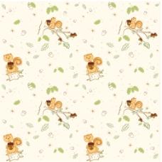 可爱小松鼠无缝背景图