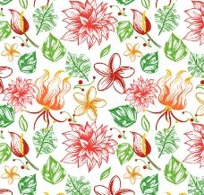 彩绘热带花朵无缝背景矢量