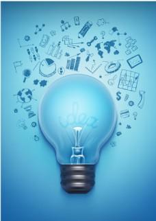 电灯电器数据蓝色背景