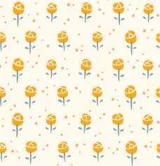 黄色可爱小花无缝背景图