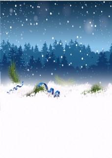 浪漫雪花圣诞背景