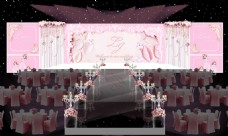 唯美舞台粉色浪漫效果婚礼图