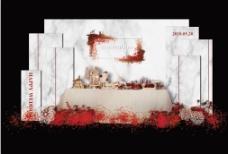 红色大理石婚礼甜品区效果图