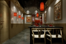 农家院走廊散台餐厅红灯笼原木