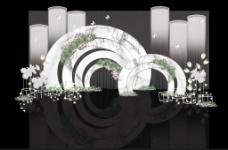 浪漫白绿色多层大理石婚礼迎宾区效果图