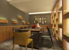 标准包间墙面照片墙原木桌椅绿植造型