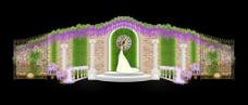欧式森系叶墙罗马柱铁门展示签到婚礼效果图