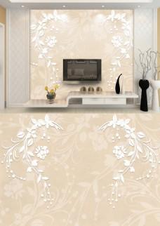 现代简约灰白花朵浮雕背景墙