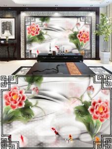 中国风花朵背景墙