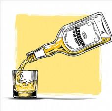 威士忌玻璃酒瓶和杯子