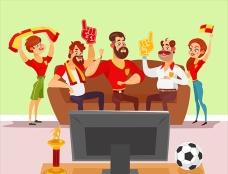 卡通一起看电视球赛的人们