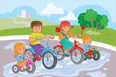 在公园里骑自行车的孩子