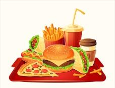 卡通传统西式快餐食品插图