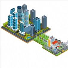等距立体摩天大楼与发电厂