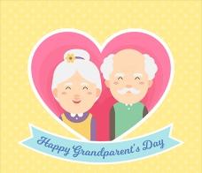 老人节祖父母卡通插图