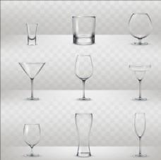 一组写实风格的酒杯插图