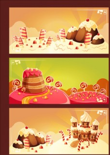 三款蛋糕甜品店横幅
