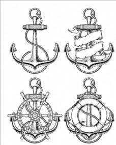 四款手绘航海船锚
