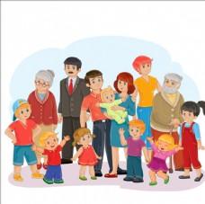 卡通幸福的大家庭插图