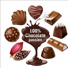 美味的巧克力甜点和糖果