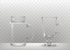 写实风格玻璃杯冰沙杯