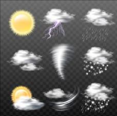 一组不同类型的半透明天气图标