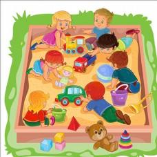 在沙堆里玩耍的孩子