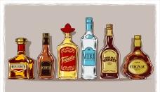 一组威士忌玻璃酒瓶