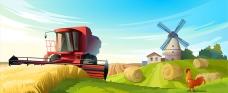 卡通夏日的农场景观