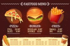 西式快餐厅彩色菜单