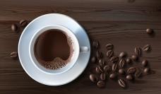 写实风格一杯咖啡和咖啡豆