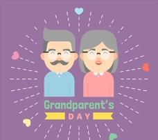 重阳节祖父母卡通插图