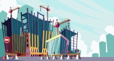 卡通建筑施工工地插图