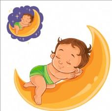 睡在月亮上的宝宝