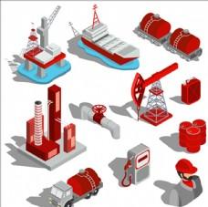 等距立体三维石油工业插图