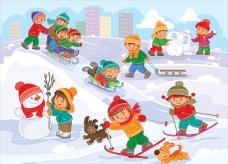 在雪地里玩耍的孩子