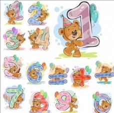 卡通泰迪熊数字加减符号